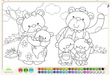 لعبة تلوين أسرة الدب